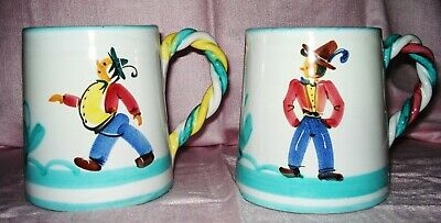 Italian Pottery pair of hand painted cofee mugs Made In Italy and signed - Hand Painted Italian