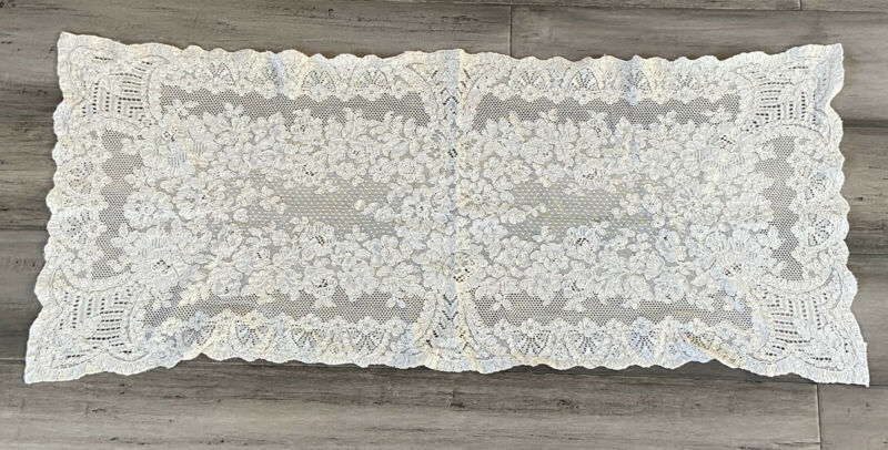 Antique French Alencon Lace Table Runner - 33