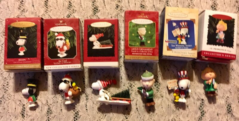 LOT OF 6  HALLMARK SNOOPY & FRIENDS HOLIDAY FIGURE ORNAMENTS