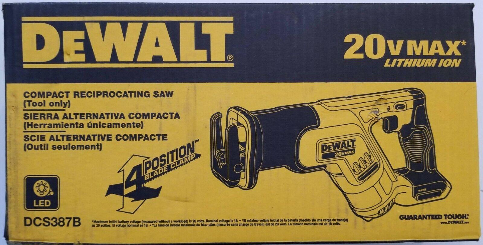 DEWALT DCS387B 20V 20 Volt Max Cordless Compact Reciprocatin