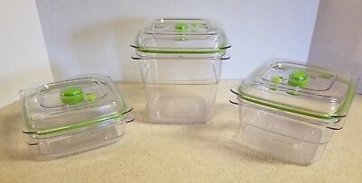 Food Saver Fresh Containers 3 Cup 5 cup 8 cup with Lids Vacuum Sealing 6 pieces