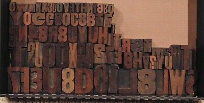 Lot Of 78 Antique Vintage Wood Letterpress Print Type Block Letters Numbers
