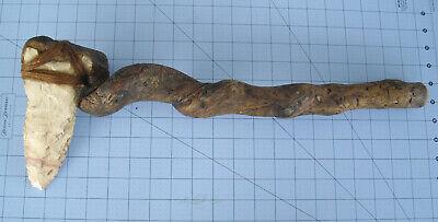 "Tomahawk Western Amicana 19"" Long Stone Head Twisted Wood Handle"