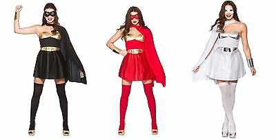 NEW Ladies Superhero - Red, Black and White Fancy Dress Halloween Costume