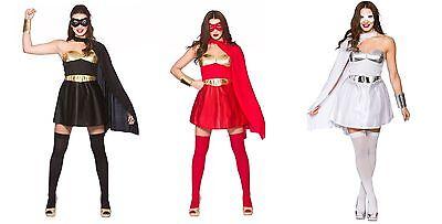 NEW Ladies Superhero - Red, Black and White Fancy Dress Halloween Costume (Superhero White Costume)
