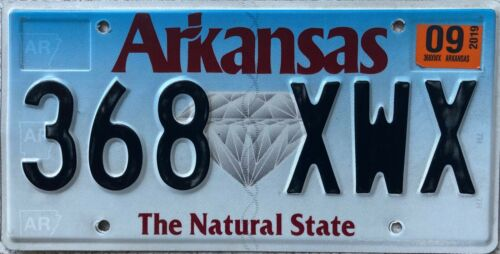 Arkansas Natural State Diamond American License USA Licence Number Plate 368 XWX