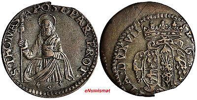 ITALY PARMA Francesco Farnese Silver 1694 Lira ERROR STRIKE SAINT THOMAS XF Cond