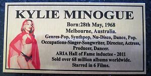 KYLIE-MINOGUE-Gold-Plaque-col-Picture-Free-Postage