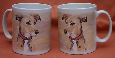 LURCHER HOUND GREYHOUND WHIPPET DOG Mug watercolour design Sandra Coen print