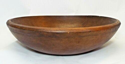 "Old Antique 14 1/2"" WOODEN BOWL Primitive Woodenware Kitchen"