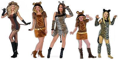 stüm Kleid Löwe Löwin Lion Tiger Tier Kinder Mädchen Damen (Mädchen Kostüm Löwe)
