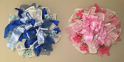 Baby Announcement Its a Girl  Its a Boy Pink Wreath Blue Wreath Shower Nursery