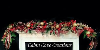 Christmas Mantel Garland Swag Decorated Burgundy / red Gold Prelit 8' Custom