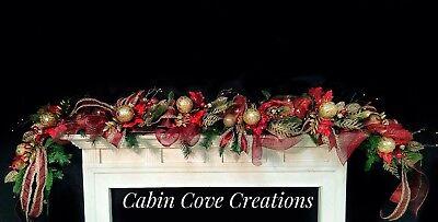 Christmas Mantel Garland Swag Decorated Burgundy / red Gold Prelit 8' - Christmas Mantel Decorations
