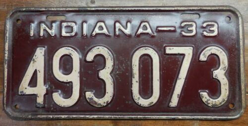 VERY NICE LOOKING ORIGINAL 1933 INDIANA PASSENGER CAR LICENSE PLATE, 493 073