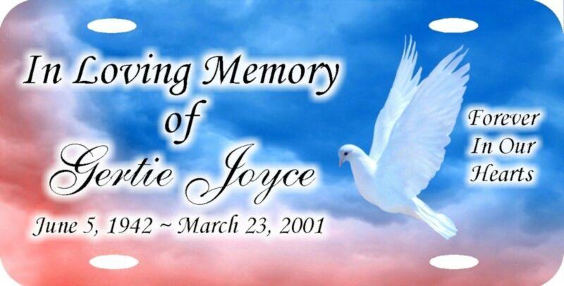 Personalized Custom In Loving Memory Dove in Flight Peace Heavenly License Plate