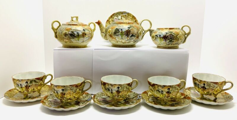 Antique Meiji Satsuma Hiragana Sign Moriage Eggshell Porcelain Tea Set 15 Pcs