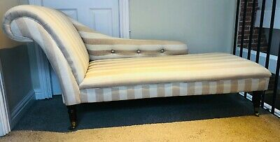 Vintage chaise longue, striped stone & cream