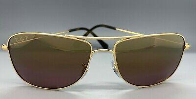 RAY BAN RB3543 001/6B Gold CHROMANCE Sunglasses Polarized Purple Mirror (Purple Ray Ban Aviators)