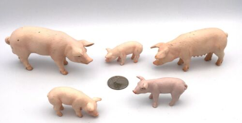 Schleich PINK PIG FAMILY Boar Sow & Piglets Hog 2003 Retired Farm Animal Figures