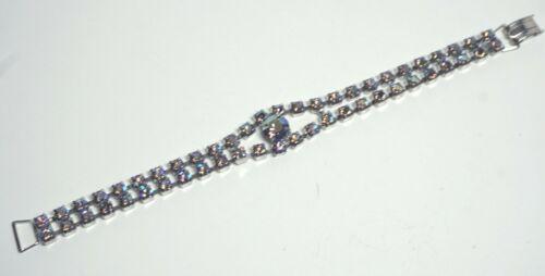 Vintage Blue Aurora Borealis Rhinestone 2 Row Bracelet- Prong Set Silver Tone