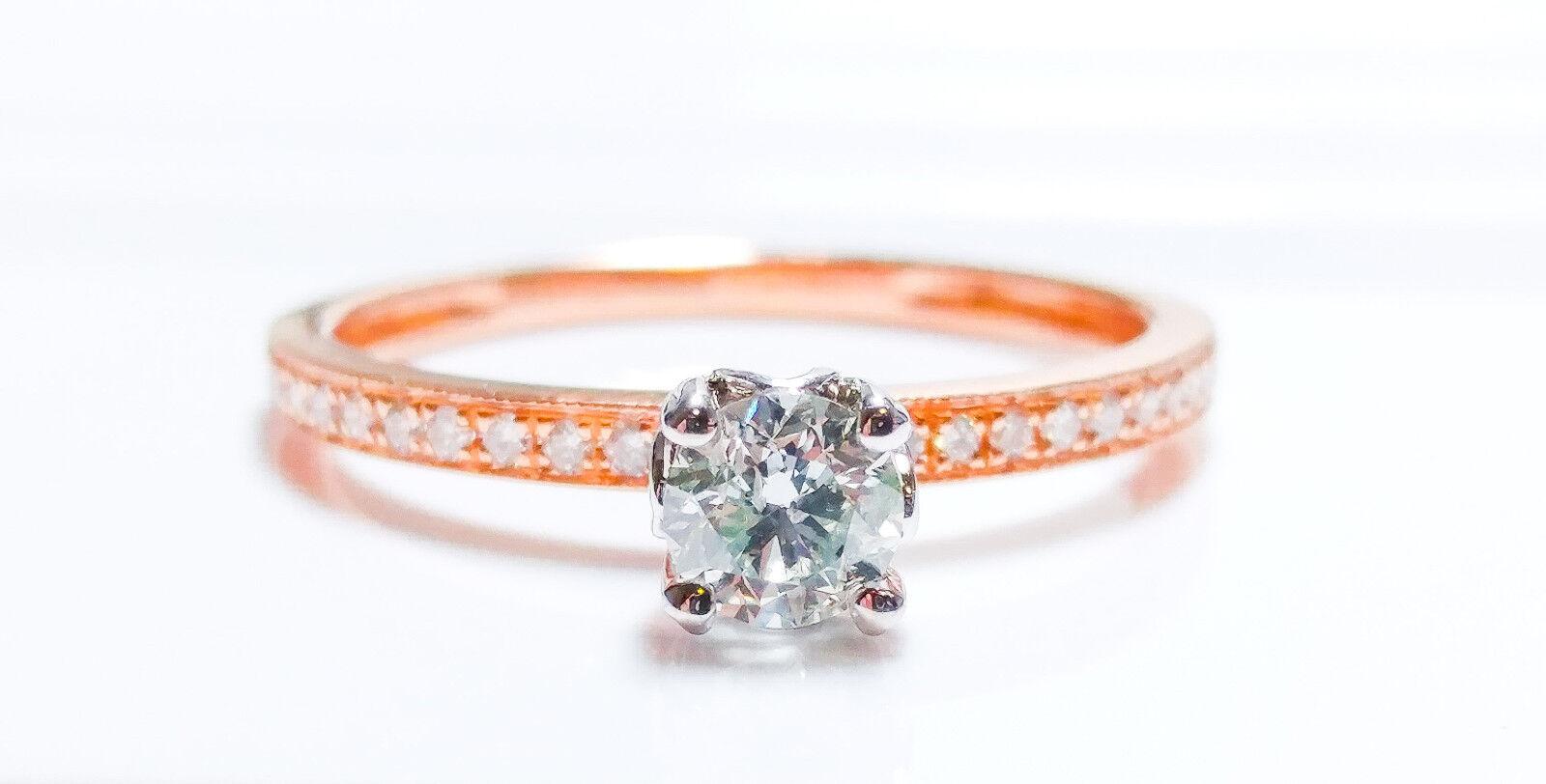 Green Diamond - Engagement Ring 0.53ct Natural Fancy Light Green GIA 18K Pink