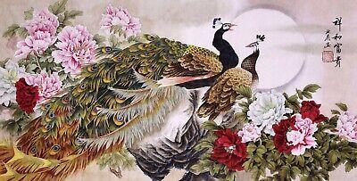 ORIGINAL ASIAN FINE ART CHINESE WATERCOLOR PAINTING-Peacock birds&Peony flowers