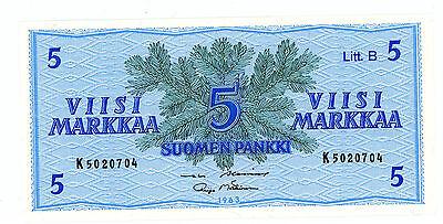 Finland … P-109A … 5 Markkaa … 1963 … *UNC*