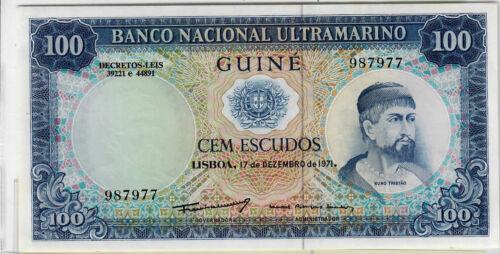 Portuguese Guinea 100 escudos 1971 p-45 Uncirculated NEW LOWER PRICE!