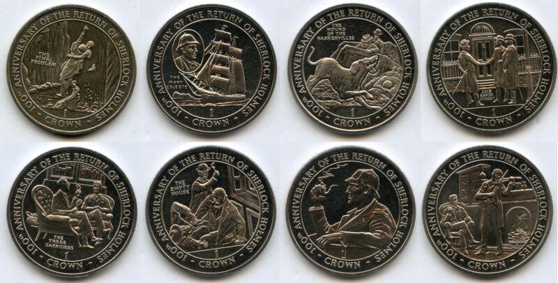 1991 Gibraltar Return of Sherlock Holmes 8 Coin Set 1 Crown - JJ016
