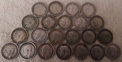 George V 3 Pence 1911-1936 Year Full Run 22 Silver Coins Set LOT 2