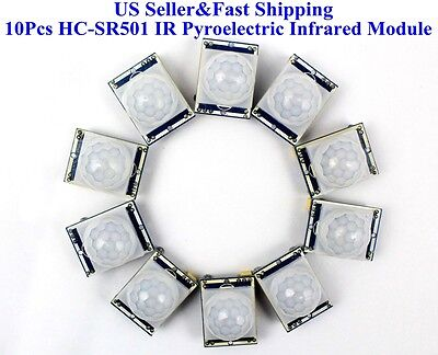 US 10Pcs HC-SR501 IR Pyroelectric Infrared IR PIR Motion Sensor Detector Module