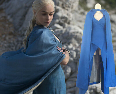 Cosplay Mother of Dragons Game of Thrones Daenerys Targaryen Costume Dress Blue - Game Of Thrones Costumes Women