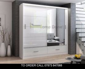 Marse High Gloss Luxury Sliding Door Wardrobe with LED Lights in White