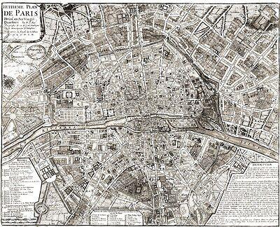 GIANT VINTAGE historic PLAN OF PARIS FRANCE 1705 OLD ANTIQUE STYLE MAP art print