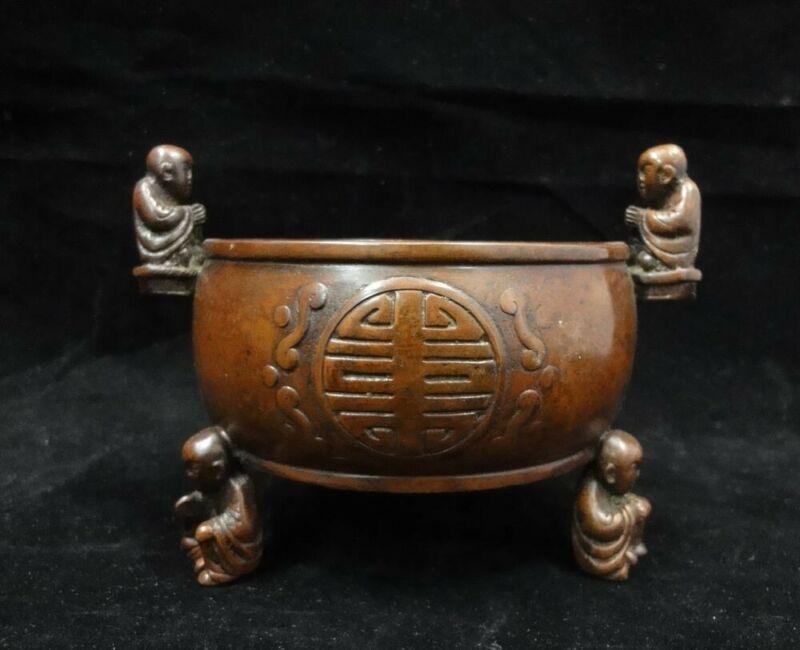"Fine Old Chinese Bronze Buddha Incense Burner Censer ""XuanDe"" Marks"