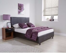 Black OR Brown Double Leather Bed Frame £69 With soft PU leather cover Mattress Option Available