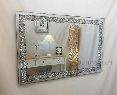 GatsbyX Arrugado Diamante Cristal Vidrio Marco de Plata Biselado Espejo de Pared