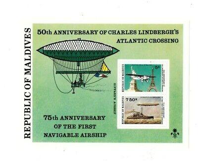 VINTAGE CLASSICS - MALDIVES SC# 709 - Charles Lindbergh Airship - S/S - MNH