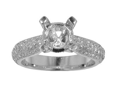 1.75 CT. TW Round Cut Diamond Pave Engagement semi Mount Ring 18 kt Gold