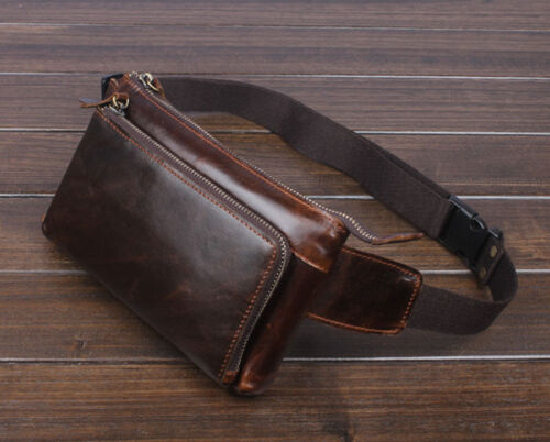 Men Oil Wax Leather Vintage Waist Bag Fanny Pack Outdoor Tra