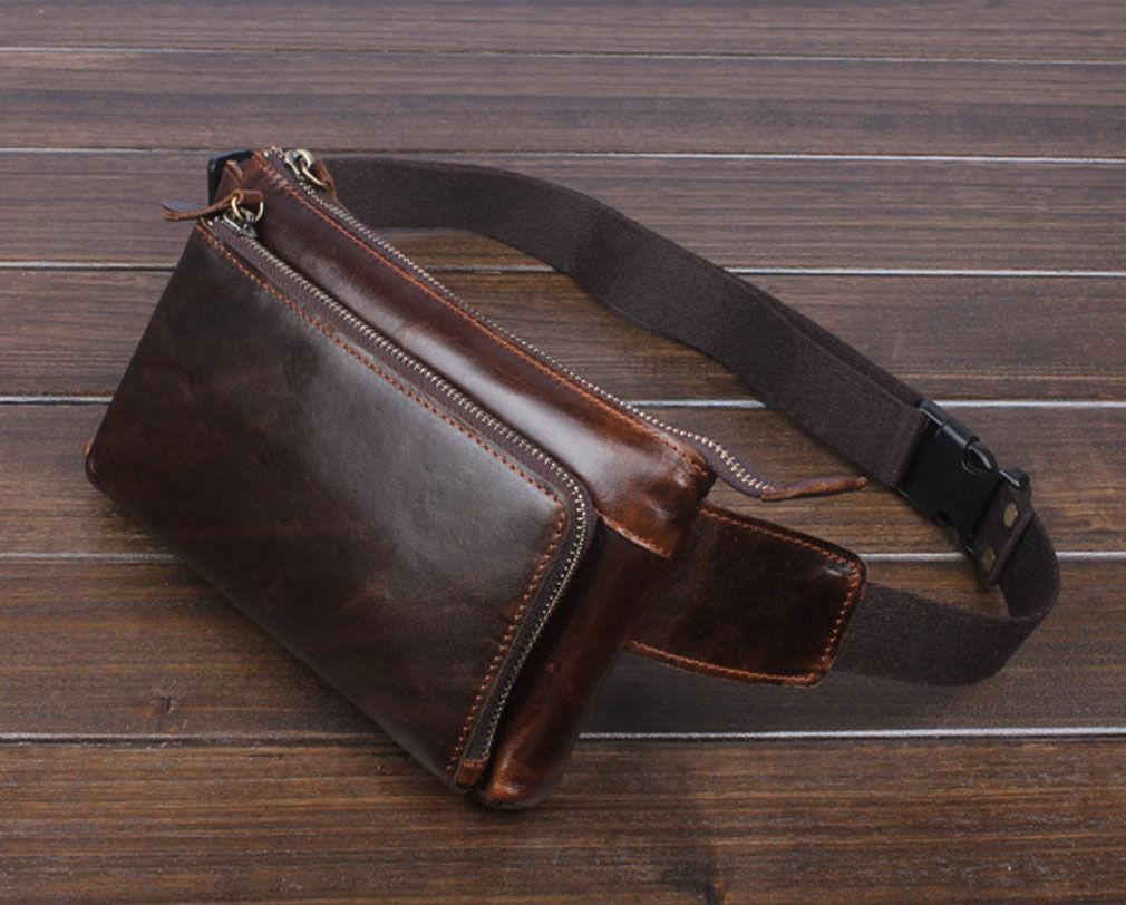 0e9a582b2b8e Men Oil Wax Leather Vintage Waist Bag Fanny Pack Outdoor Travel Belt Hip  Pouch 아이템 넘버: 362326855294. >
