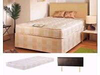 🔴🔵EXPRESS DELIVERY 🔴🔵BRAND NEW-Double Bed/Small Double Divan Bed-With Economy Sprung Mattress