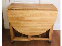 Foldaway wooden table
