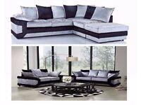 --SUPREME QUALITY-- BRAND NEW Dino Crushed Velvet Corner Sofa Or 3 and 2 Seater Sofa Suite
