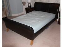 John Lewis Brown Leather King Size Bed