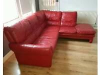 Red L shape 4 seater Leather Corner Sofa
