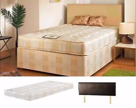 MASSIVE SAVINGS***BRAND NEW DOUBLE DIVAN BED BASE WITH SEMI ORTHOPEDIC MATTRESS