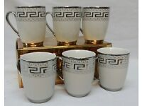 6 X SILVER VERSACE DESIGN TEA /COFFEE MUGS