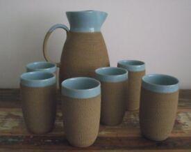 DENBY STONEWARE large jug / six beakers LEMONADE / WATER SET vintage 1950s NICE CONDITION herne bay